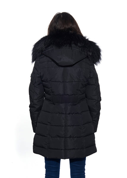 Fur Hooded Quilted Coat