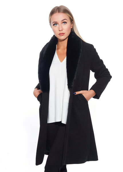 Fur  Long Collar Coat