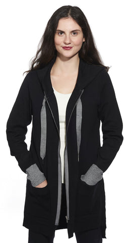 2 Tone Hooded Zip Front Cardigan