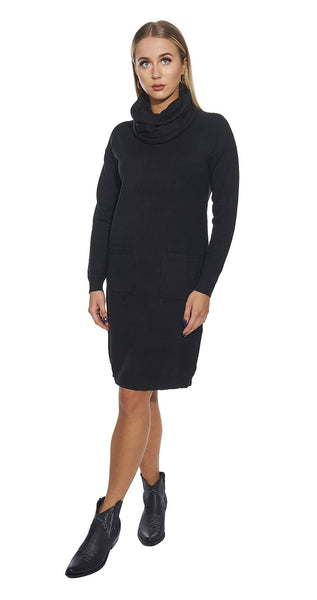 Pocket Front Knit Dress with Scarf