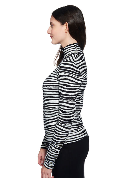 Zebra Print Mock-Neck Sweater