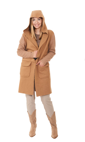 3/4 Hooded Detail Coat