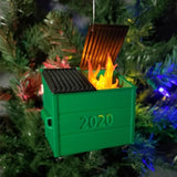 2020 LED FLICKERING DUMPSTER FIRE - CHRISTMAS ORNAMENT GIFT