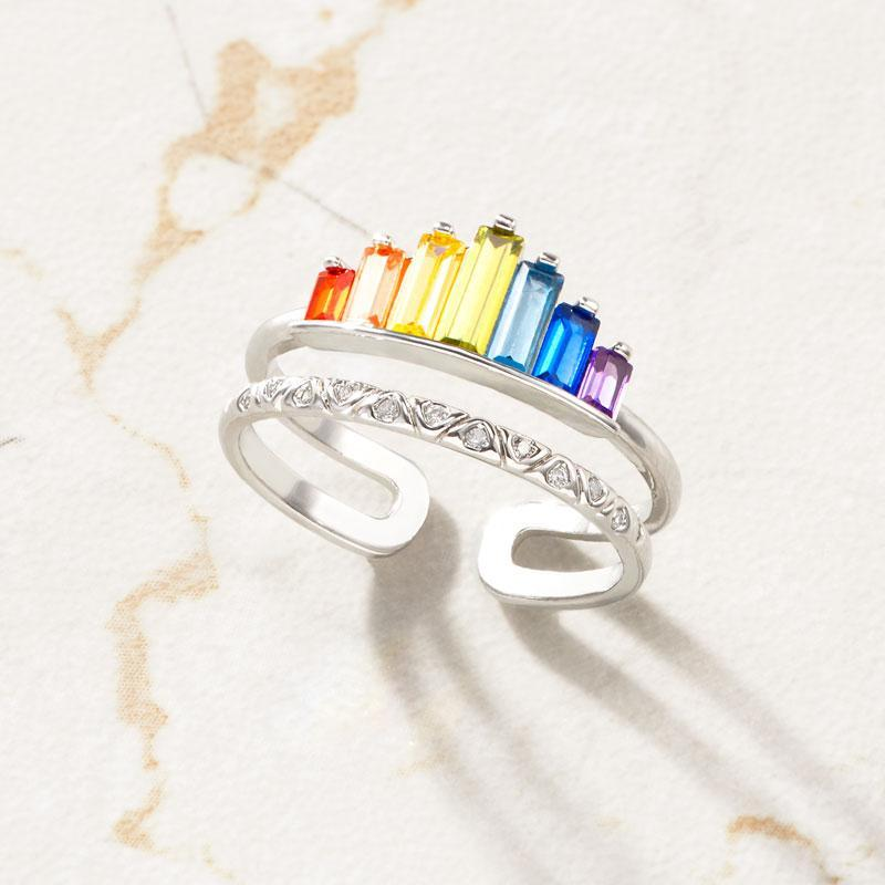 S925 Double Band  Rainbow Ring