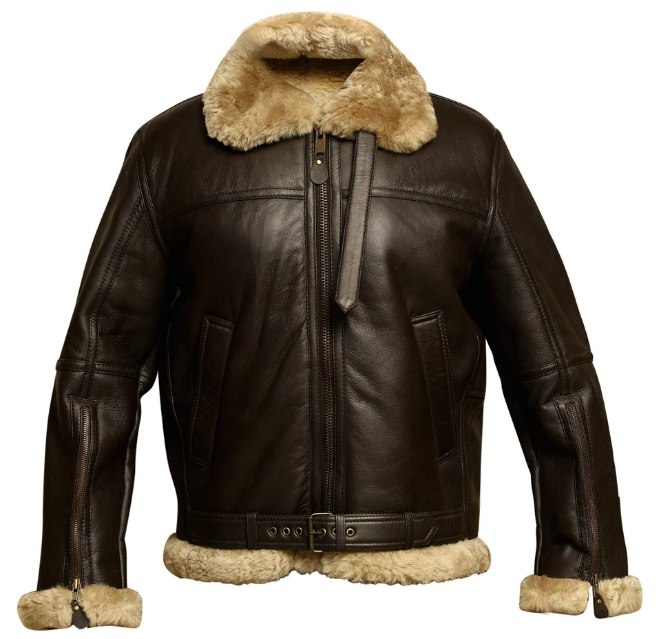[CLEARANCE SALE]: Aviator Bomber Jacket B3 Real Shearling Sheepskin Leather