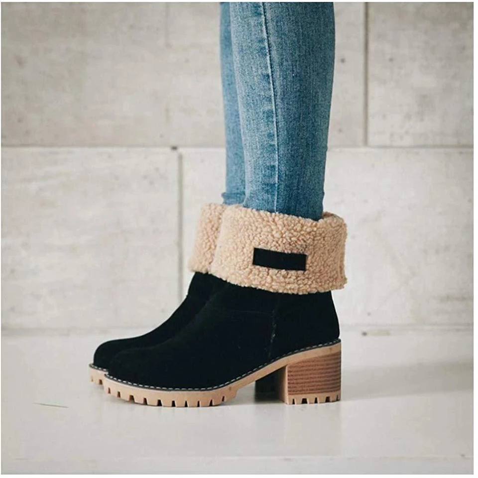COSY Winter Premium Women Suede Snow Chunky Ankle Boots 2020 - Gofasan
