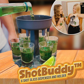 ShotBuddy™ 6 Shot Glass Dispenser and Holder