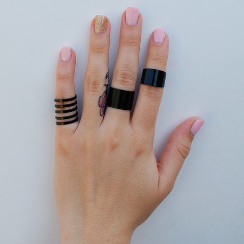 Matte Black Ring Set