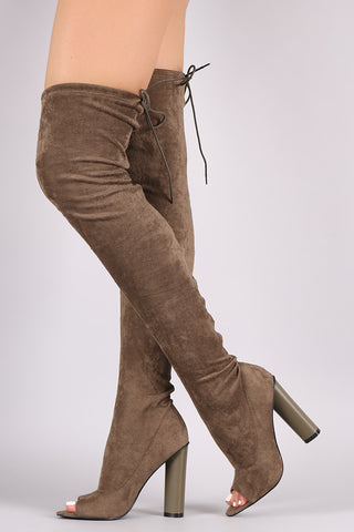 Drawstring Collar Heeled Over-The-Knee Fitted Suede Boots