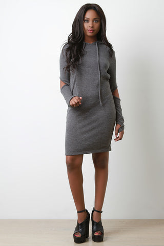 Cut Out Elbow Hoodie Midi Dress