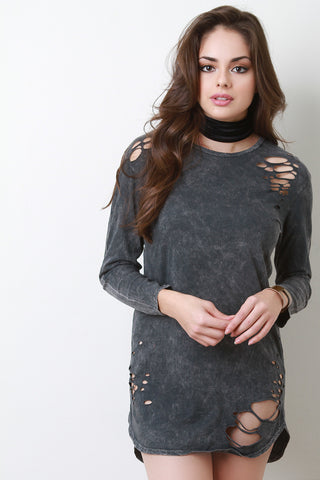 Distressed Mineral Wash Long Sleeve Dress