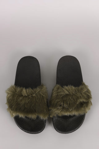 Fluffy Faux Fur Open Toe Slide Sandal