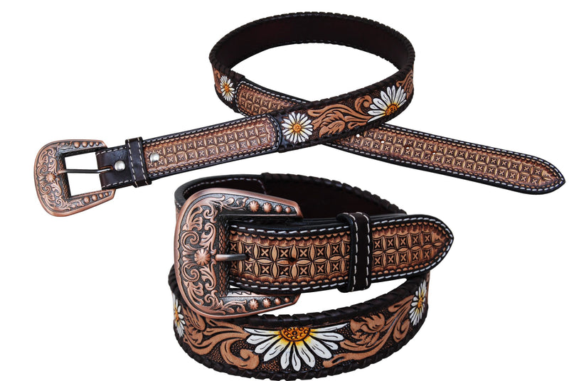 Western Belt - Hand Painted Daisy
