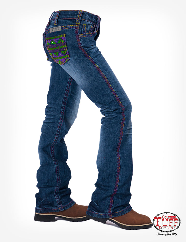 Girl's Cowgirl Tuff Jeans - Aztec Reboot