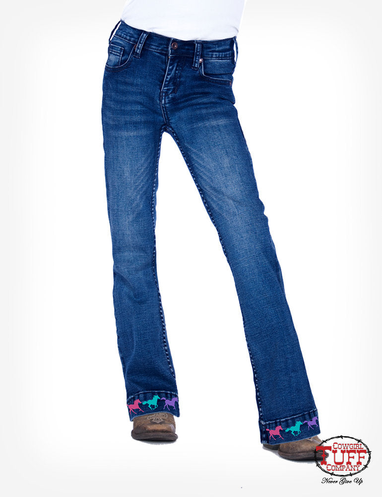 Girl's Cowgirl Tuff Jeans - Ride Fast Trouser