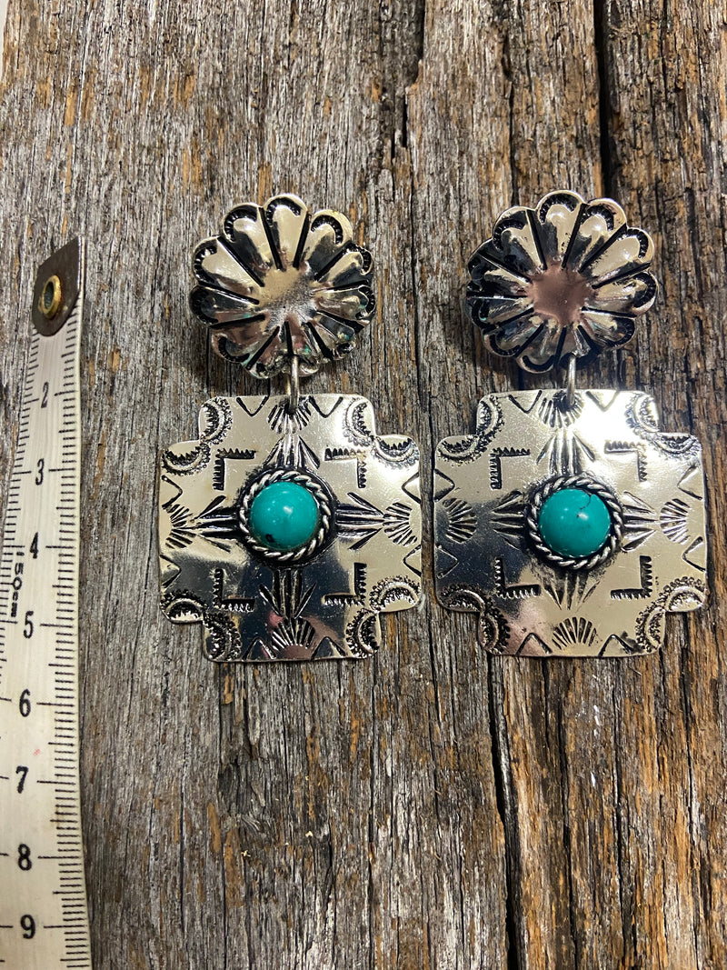 Western Earrings - Antique Silver and Turquoise