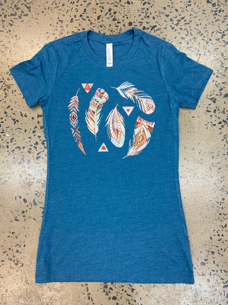 Southwestern Feathers Tee - Blue