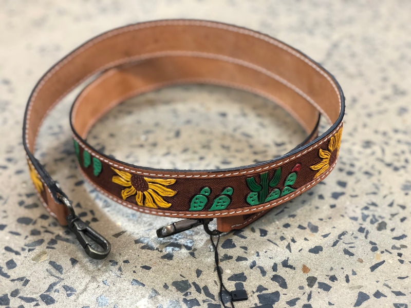 Carved Leather Handbag Strap