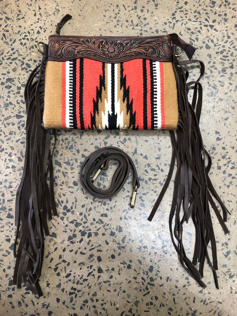 Pia - Saddle Blanket and Leather Crossbody/Clutch