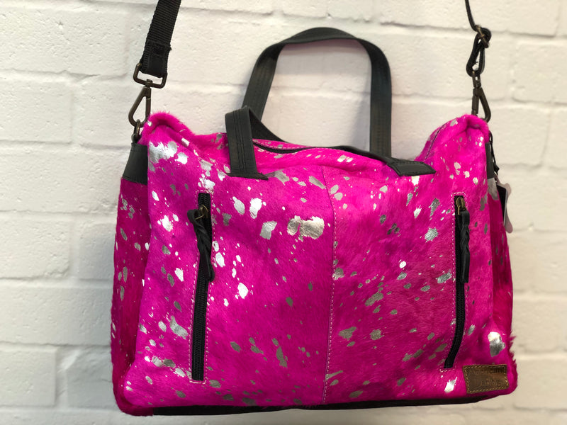 Cowhide Nappy Bag - Pink