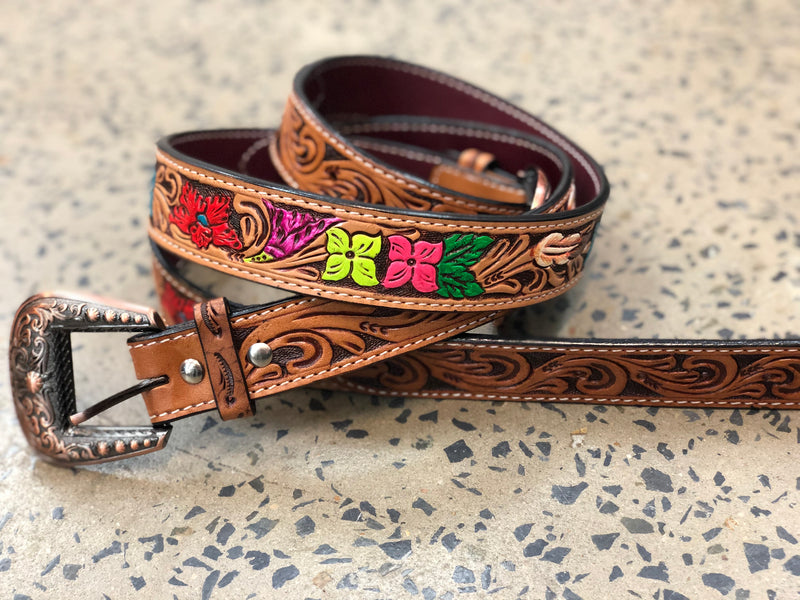 Western Belt - Hand Painted Floral