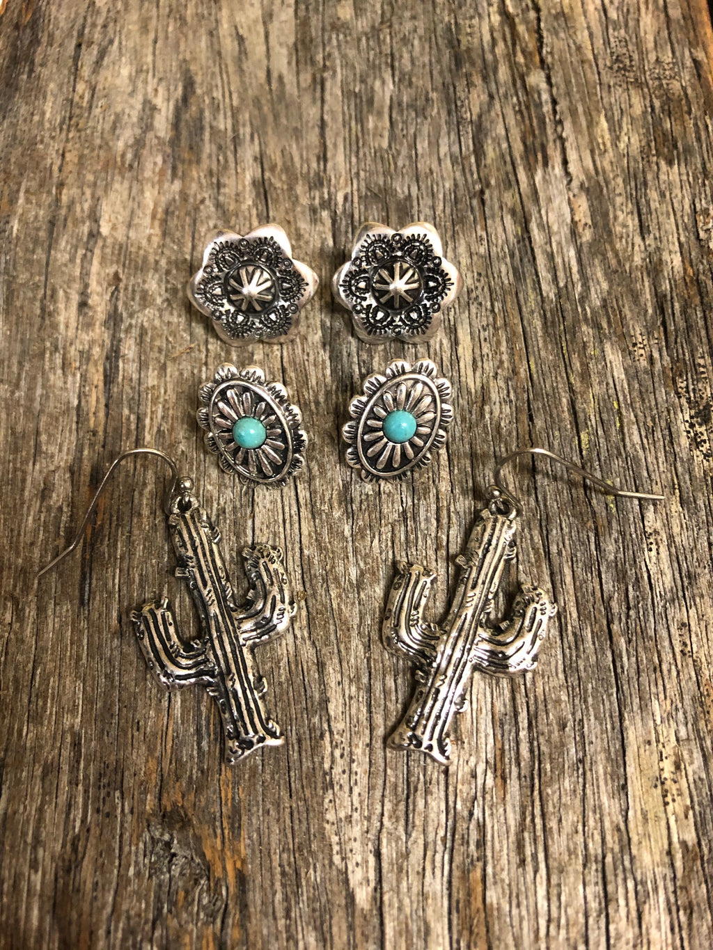 Earring Trio - Burnished Silver