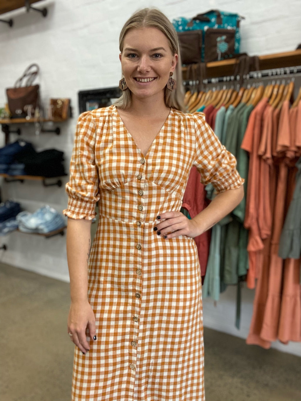 Anabelle Dress - Mustard Gingham