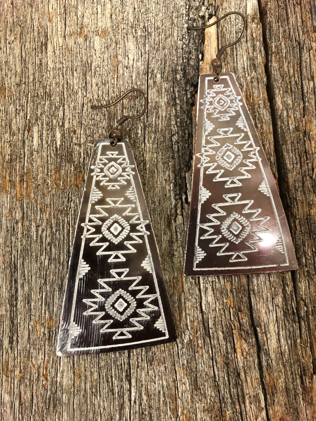 Western Earrings - Aztec White