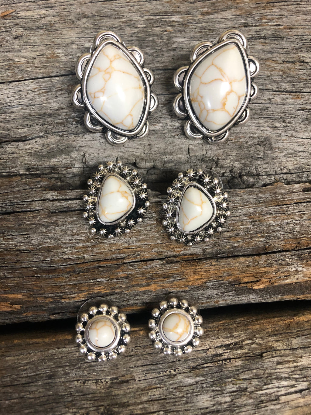 Earring Trio - Silver & Natural