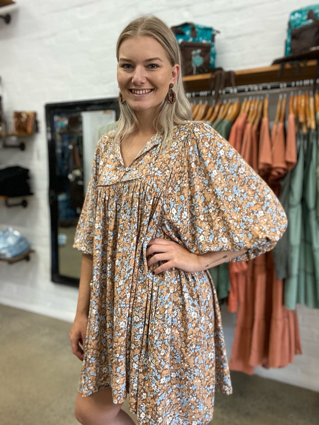 Mable Dress - Brown Floral