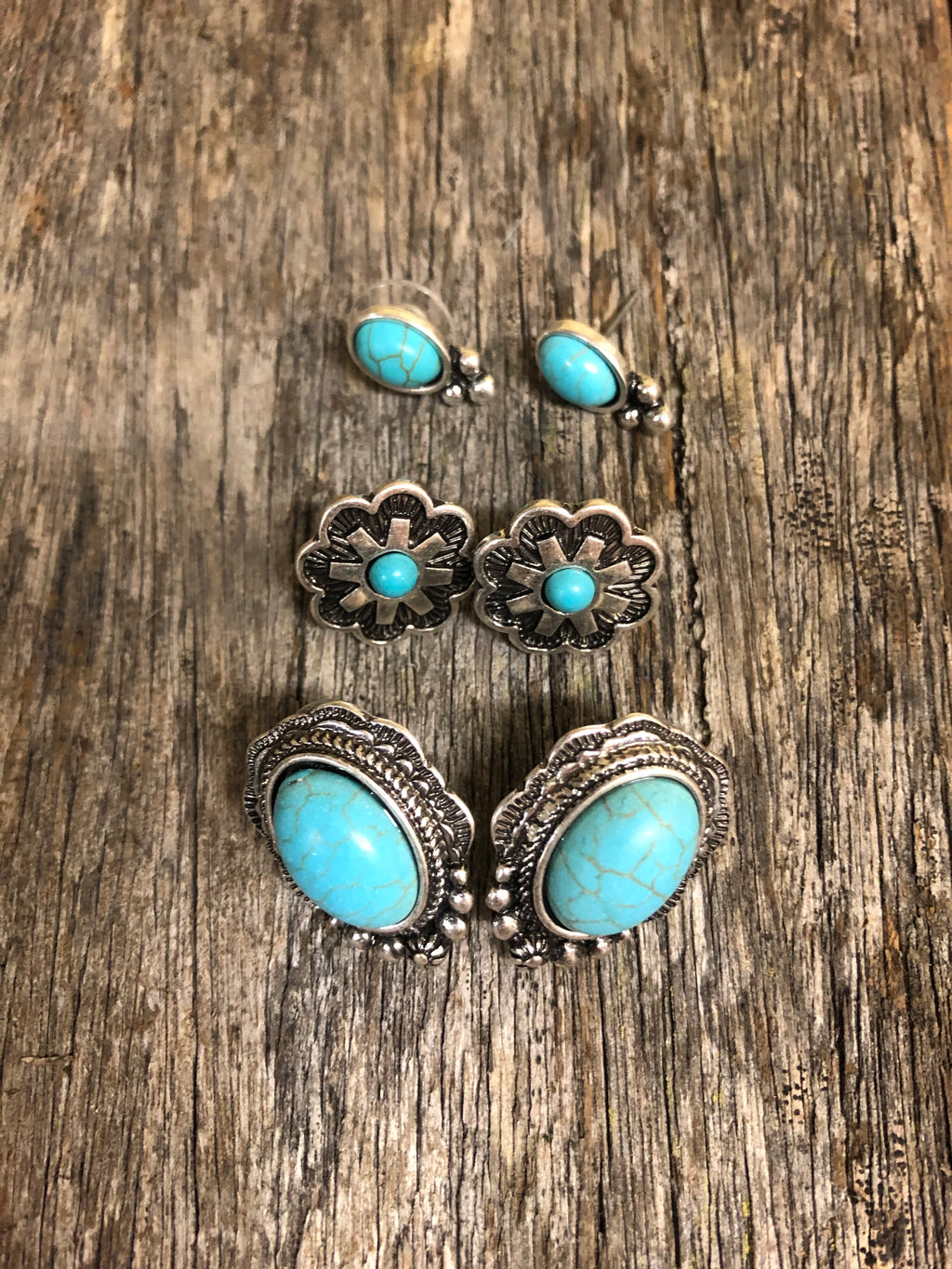 Earring Trio - Aged Silver & Turquoise