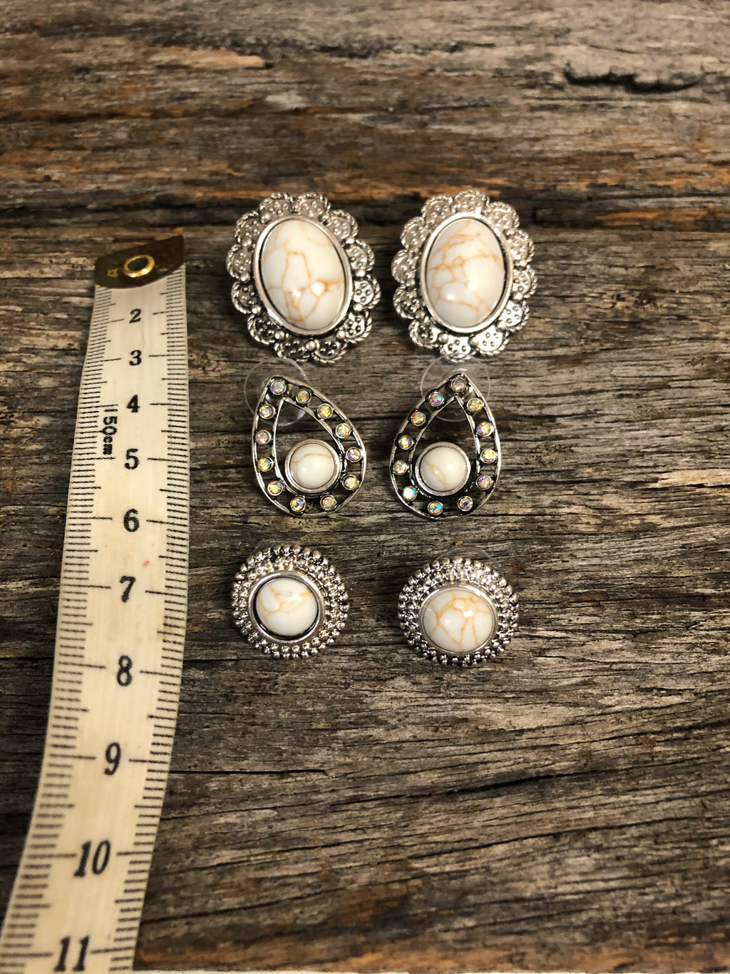 Earring Trio - Aged Silver & Natural