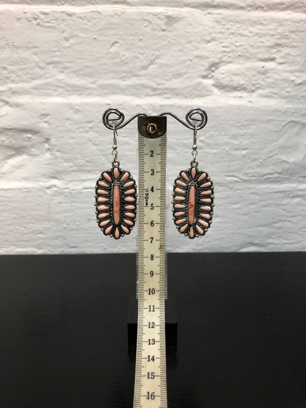 Earrings - Apricot and Silver