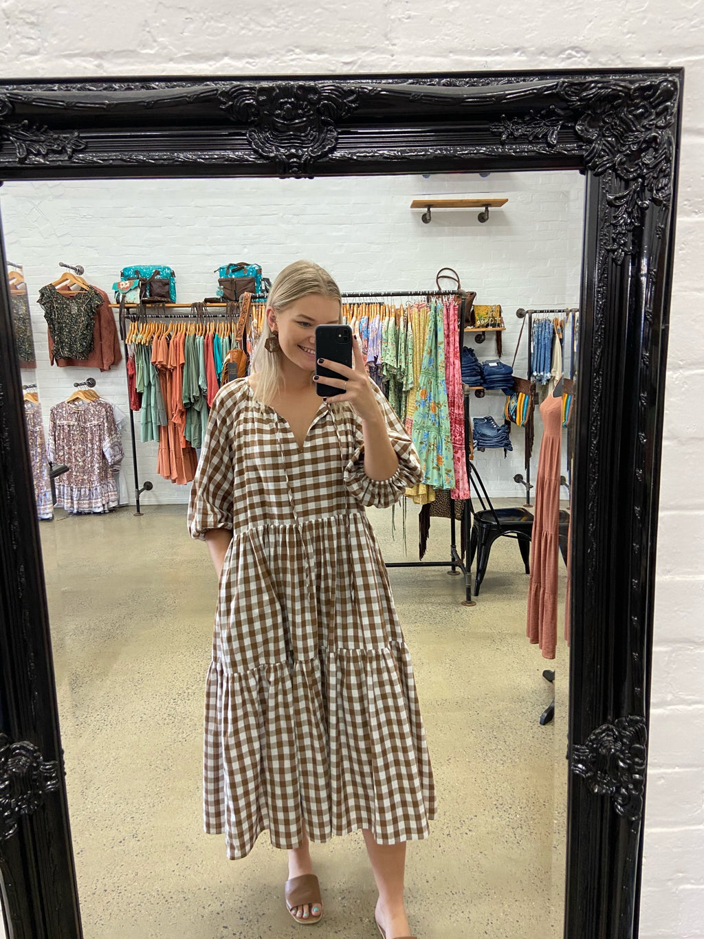 Charlie Dress - Brown Gingham