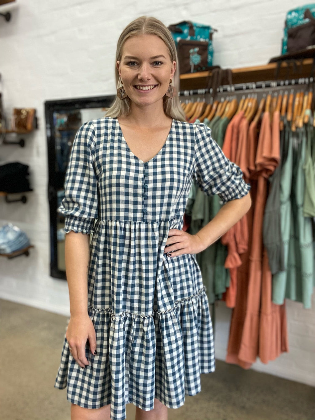 Maisy Dress - Blue Gingham