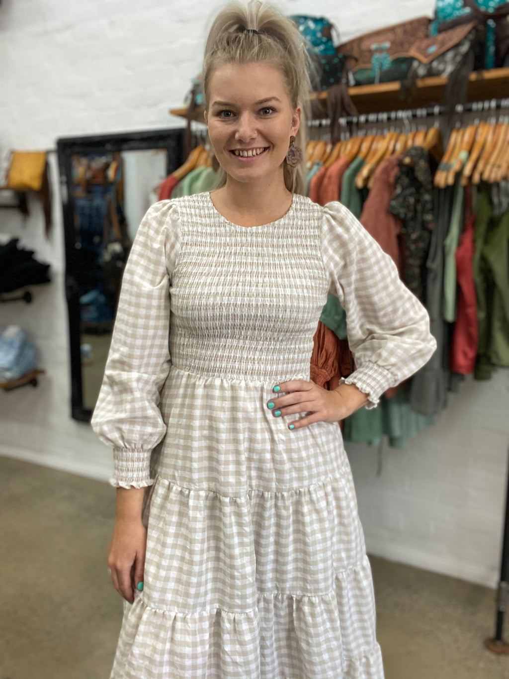 Dylan Dress - Beige Gingham