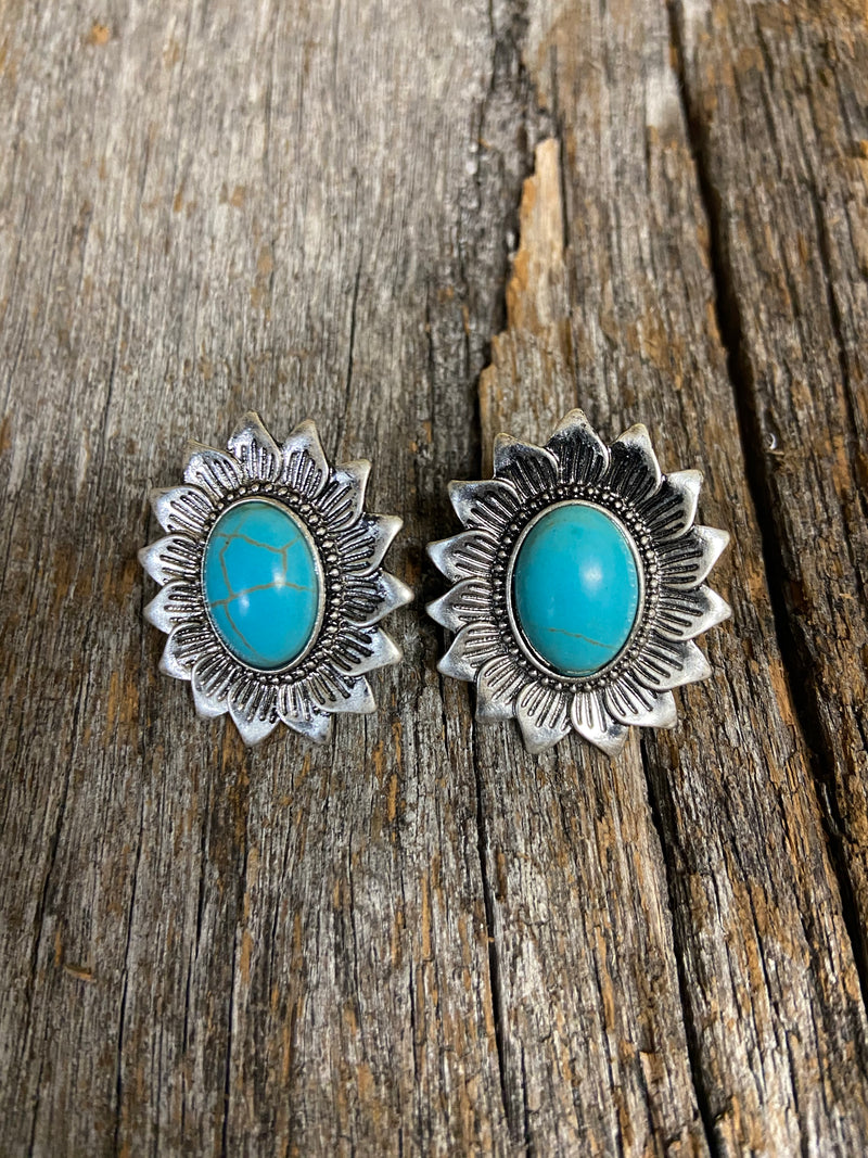 Western Earrings - Turquoise Stone Post Earring