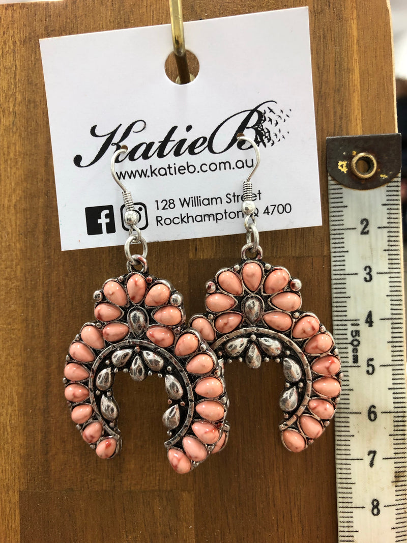Earrings - Peach Marble