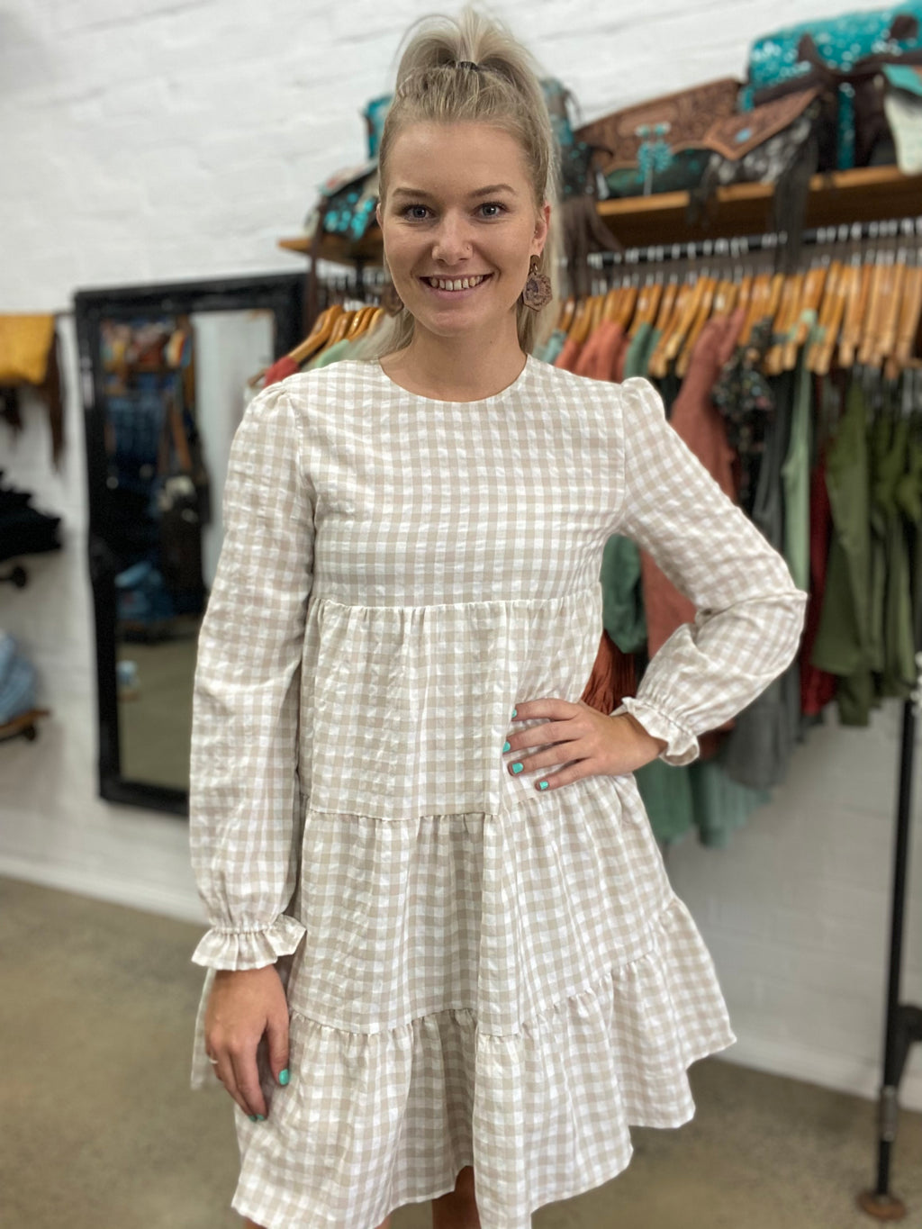 Lauren Dress - Beige Gingham