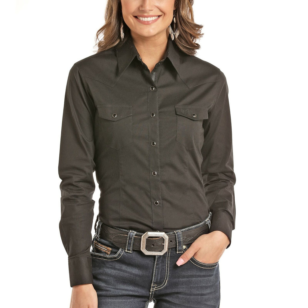 Panhandle Long Sleeved Shirt - Black (22S8041)