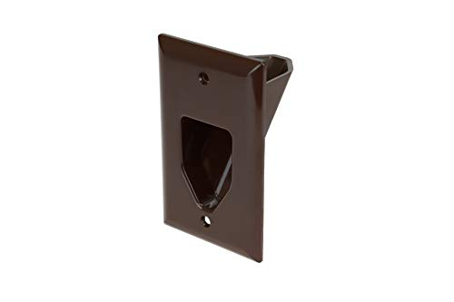 Data Comm Electronics 45 0001 Br 1 Gang Recessed Low Voltage Cable Plate   Brown