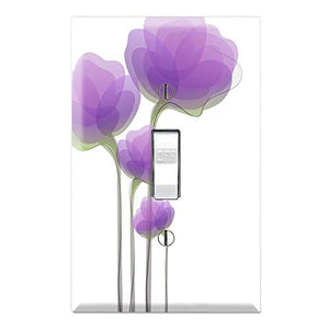 Graphics Wallplates - Purple Watercolor Flowers - Single Toggle Wall Plate Cover