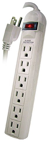 POWTECH UL Listed 6 Outlet Surge Protector Heavy Duty Home/Office Power Strip, 14 AWG Cord, 125V, 15AMPS, 1875 Watt, 12-Ft Power Cord