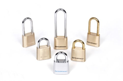 Sesamee K0437 4 Dial Bottom Resettable Combination Brass Padlock with 2-1/4-Inch Shackle and 10,000 Potential Combinations