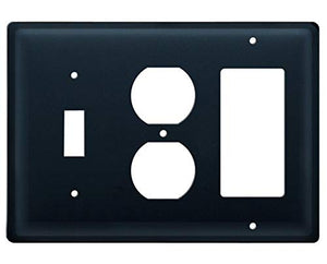 Village Wrought Iron ESOG-87 6.5 Inch Plain - Single Switch, Outlet and GFI Cover, Black