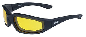 Global Vision Eyewear Kickback Sunglasses with EVA Foam, Yellow Tint Lens, Soft Touch Black Frame