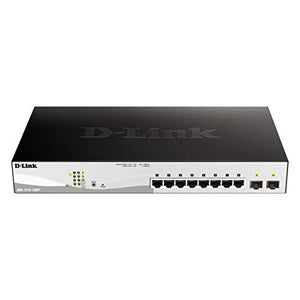 D-Link 10-Port Gigabit Smart Managed PoE Switch Including 2 Gigabit SFP Ports, 130W PoE Budget - DGS-1210-10MP