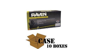 SAS Safety Raven - Black Nitrile Exam Powder Free Gloves - 1 Case, Medium