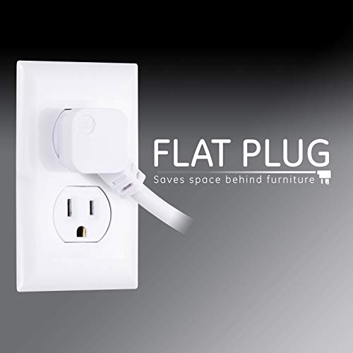 Ge 6 Outlet Surge Protector, 10 Ft Extension Cord, Power Strip, 800 Joules, Flat Plug, Twist To Clos