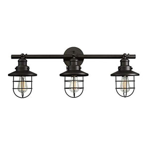 Globe Electric Beaufort 3-Light Wall Sconce, Oil Rubbed Bronze Finish, Removable Cage Shade, 59115